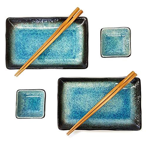 Happy Sales 6 Piece Japanese Sushi Plate Dinnerware Set Blue Ocean