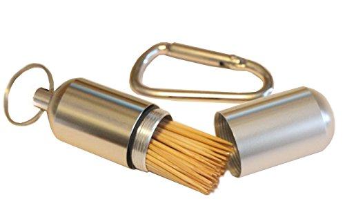 Portable Toothpick Box Pocket Waterproof Toothpick Holder Metal Pill Case Keychain Cotton Swab Box Outdoor Tool Travel Kit Tableware
