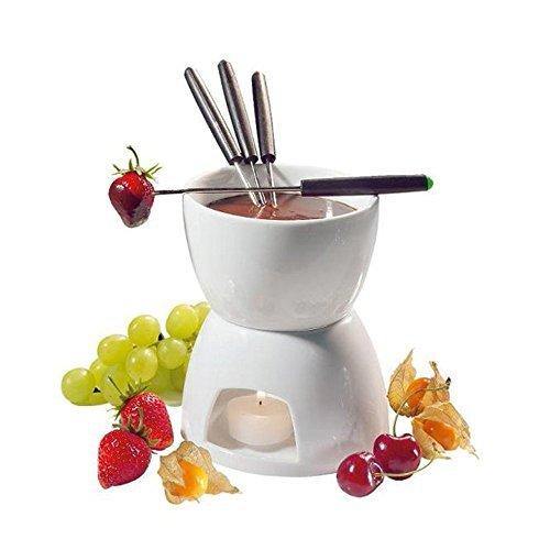 Ceramic Chocolate Fondue Set w Forks - Tea Light Porcelain Melting Pot w Fondue Dippers