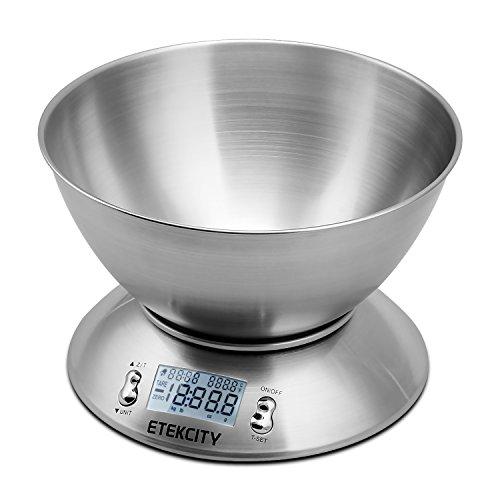 Etekcity 11lb/5kg Digital Kitchen Food Scale, Stainless Steel, Alarm Timer & Temperature Sensor