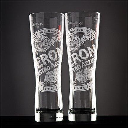 Peroni Signature Italian Beer Glass  Set of 2 Glasses