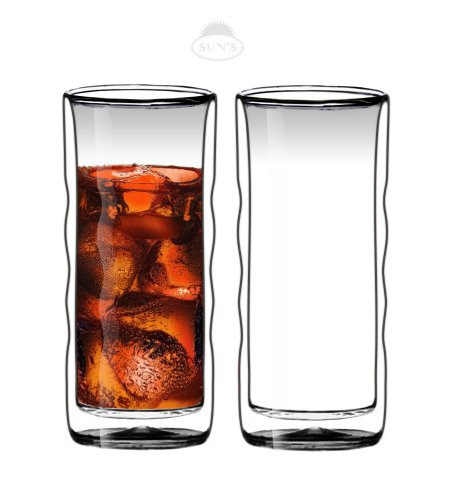 Suns TeaTM 20oz Ultra Clear Strong Double Wall Insulated Thermo Wave Glass Tumbler Highball Glass for BeerCocktailLemonadeIced Tea Set of 2