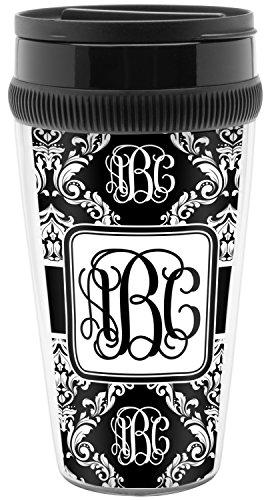 Monogrammed Damask Travel Mug Personalized