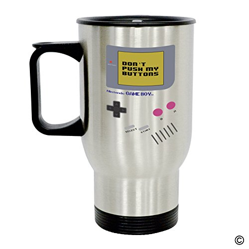 MsMr Personalized Travel Mug - Funny Quote Photo Mug - Nintendo Game Boy Dont Push My Buttons 14 Ounce Stainless Steel Travel Mug CoffeeTeaMilk Mug