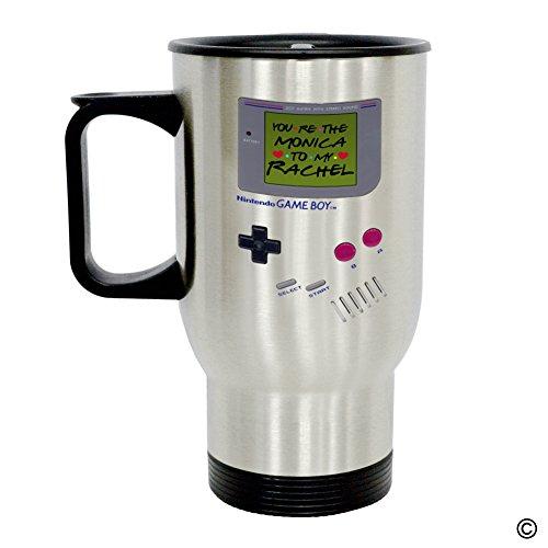 MsMr Personalized Travel Mug - Funny Quote Photo Mug - Nintendo Game Boy Youre The Monica To My Rachel 14 Ounce Stainless Steel Travel Mug CoffeeTeaMilk Mug