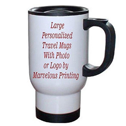 Personalized 14 oz White Stainless Steel Travel Mug with - Personalized Mug