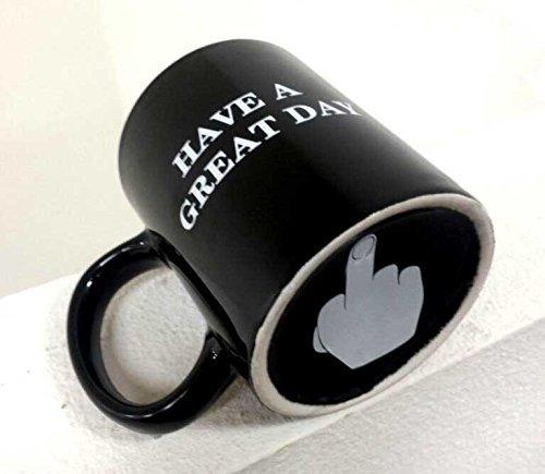 Coffee mug Have a Great Day Mugs Middle Finger Cute Mug - Funny Flip Off Ceramic Coffee Cup Black