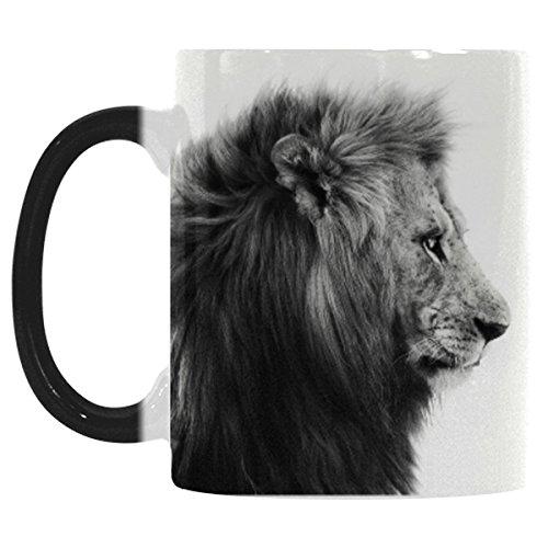 InterestPrint Safari Animal Brown Lion Morphing Mug Heat Sensitive Color Changing Coffee Mug Cup Funny African Wildlife Black and White Coffee Mug Christmas Birthday Gifts