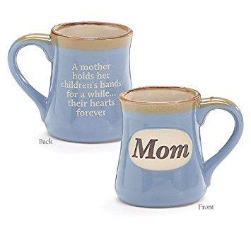 Mom Porcelain Blue Coffee Tea Mug Cup 18oz Gift Box Holds Childs HandsHearts