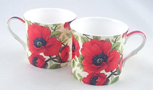 English Fine Bone China Mugs - Poppy Chintz - Set of 2 - 12 Ounce - England