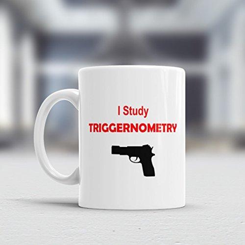 I Study Triggernometry Mug for him  Gun Mug Red  Gun Rights Mug  11oz or 15oz  Handgun Mug