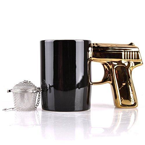 SIKOO Novelty Ceramic Coffee Mugs Gun Mugs Pistol Cup for amazing gift Black&SilverGold