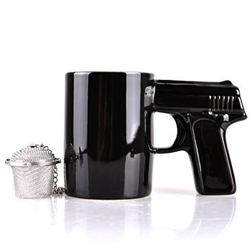 UCEC Gun Mug - Ceramic - Used for Coffee Tea - With Gift Stainless Steel Tea Strainer
