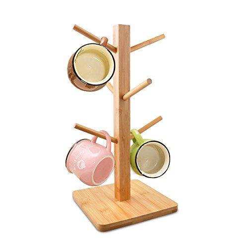 Cuteadoy Mug Rack Tree Removable Bamboo Mug Stand Storage Coffee Tea Cup Organizer Hanger Holder with 6 Hooks Natural Wood