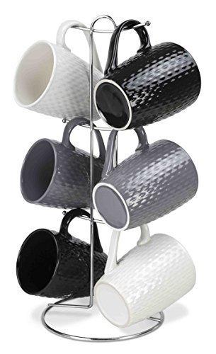 Home Basics 7 Piece Diamond Mug Set 6 11 oz Mugs and Mug Stand in Black Gray and White Add A Fun and Stylish Decorative Display For Your Kitchen