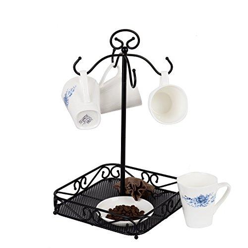 VANRA Steel Coffee Mug Holder 4 Hook Kitchen Stand Organizer Drinkware Rack  Fruit Display Basket Black
