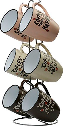 Wees Beyond 8008-G Coffee Mug Set with Stand 12oz Assorted
