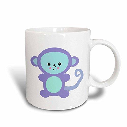 3dRose mug_102725_2 Cute Kawaii Purple Monkey Ceramic Mug 15 oz White