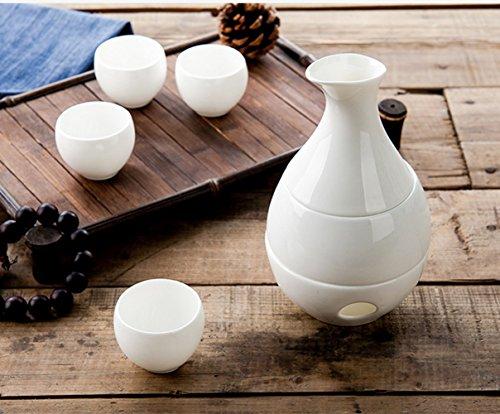 Ceramic Sake Pot Wine Set White Wine Yellow Wine Temperature Warm Pot  1PC Pot  4PC Cups