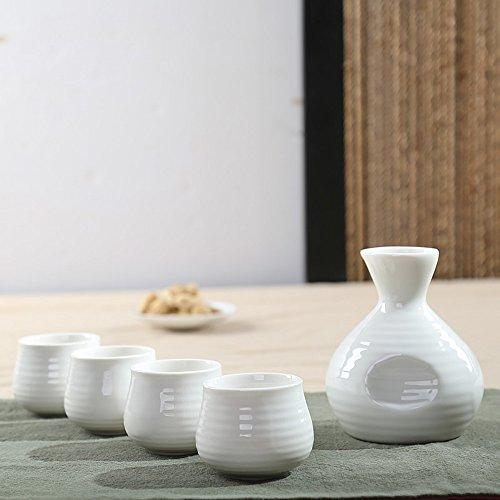 Dehua Porcelain 5 Pc Ceramic Sake Set Glazed Porcelain-White