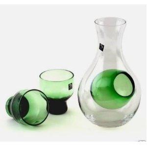 Happy Sales HSSS-GLG13 Green 3 Piece Glass Cold Sake Set