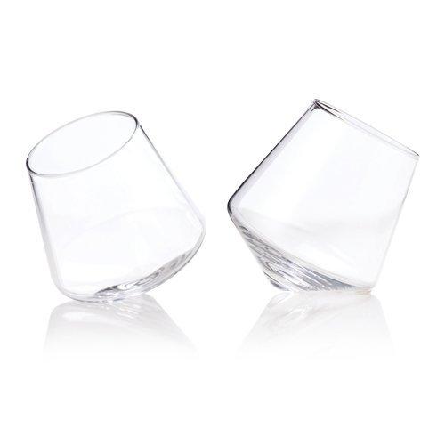 Raye Crystal Rolling Whiskey Drinking Glasses by Viski Set of 2