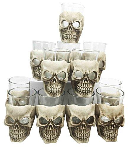 Altar of Skulls Skeleton Ossuary Terror Set of 12 Shot Glass Shooter Fancy Decor