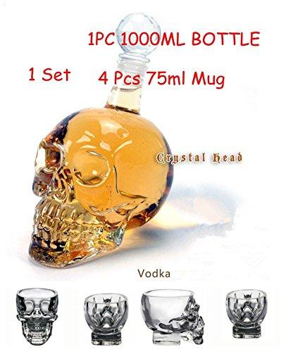Pack of 5 Skull Shot Glass 75ML X 4  Skull Glass Bottle Wine Decanter 1000ml X1