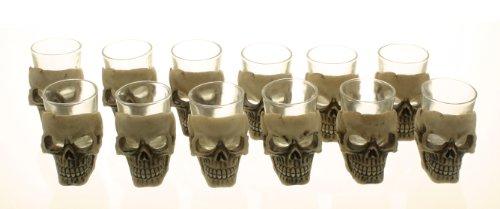 Sinister Skull  Skeleton Shot Glass Set of 12