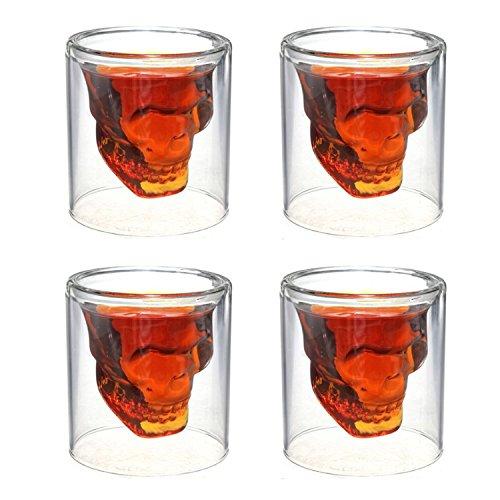 WHMING Crystal Skull ShotglassDouble Layer Transparent Skull Pirate Shot Glasses Drink Cocktail Beer CupWine CupDrinking Ware MugsThick Base Creative Halloween Mug 25oz75ml 4PCS