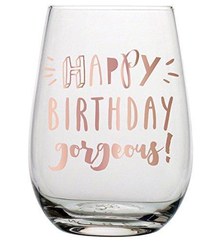 Birthday Wine Glass - 20 oz Happy Birthday Gorgeous Stemless Wine Glass