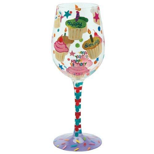 Santa Barbara Design Studio C-GLS11-5517C Lolita Love My Wine Hand Painted Glass Birthday Cupcakes