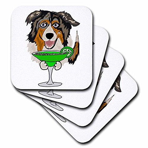 3dRose All Smiles Art Drinking - Funny Cute Australian Shepherd Dog Drinking Margarita - set of 4 Ceramic Tile Coasters cst_256462_3