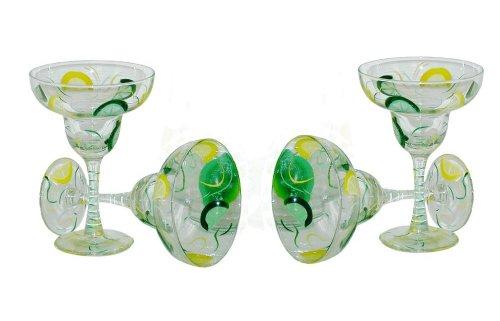 ArtisanStreets Lemon Lime Margarita Glasses Set of 4 Hand Painted Made to Order