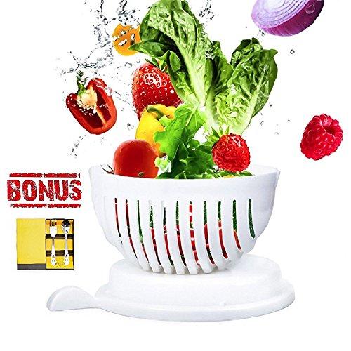 Salad Cutter Bowl 60 Second Salad Maker Salad Chopper Vegetable and Fruit Cutter Bowl Salad Spinners With Smiling Flatware