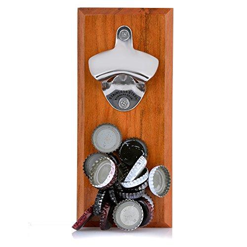 Barware Gear Bottle Opener Magnetic Cap Catcher Cherry Wood Stainless Steel