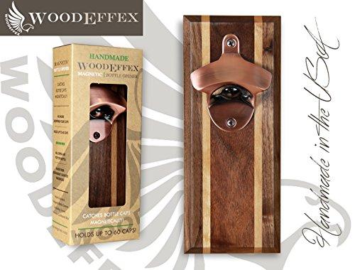 Bottle Opener Magnetic Cap Catcher - Walnut wAlder Inlays with Copper Opener