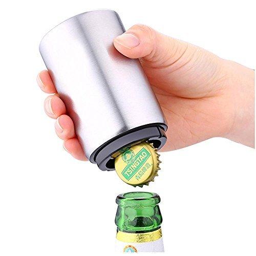niceeshopTM Magnetic Automatic Beer Bottle Cap OpenerStainless Steel Push Down Beer OpenerSilver