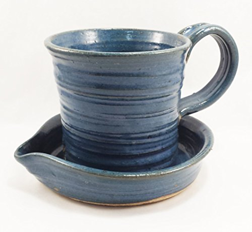 Aunt Chris Pottery - Heavy Hand Made - Small Clay Bacon Cooker - Blue Color Glazed - Unique New Way of Cooking Bacon - Fits Smaller Microwaves - Perfect For Traveling RV or Dorm Room