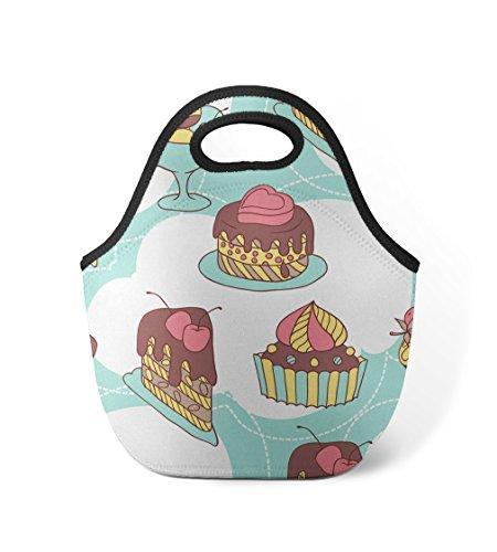 Cake Slice Cupcakes Seemless Pattern 1 Neoprene Insulated Lunch Box Bag