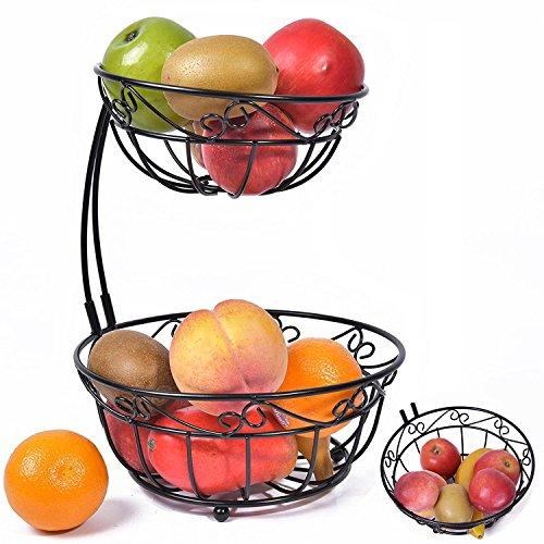 Newdora 2 Tier Scroll Fruit Basket Stand Tiered Server Fruit Storage Fruit Baskets Display Basket Countertop Organizer Black
