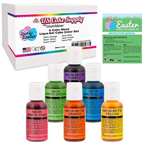 6 Color Neon Cake Food Coloring Liqua-Gel Easter Egg Decorating Baking Set - US Cake Supply 75 fl Oz 20ml Bottles