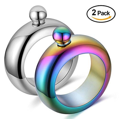 Qingo Flask Bracelet Bangle Flask Creative Stainless 304 Steeland Hip Flask Funnel Set for women 35 oz 2 pcs Sliver Rainbow