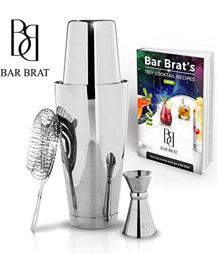 4 Piece Boston Shaker Bar Set by Bar Brat ™  Bonus 130 Cocktail Recipes ebook  Bonus Jigger  Mix Any Drink To Perfection