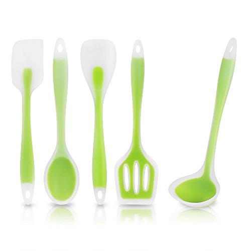 KitchCo® Premium Silicone 5 Piece Kitchen Cooking Utensils Set - Heat Resistant, Non Stick, FDA Compliant, Food...