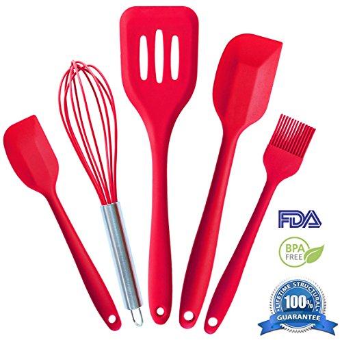 Silicone Kitchen Utensil Set (5-Piece) - Hygienic Solid Silicone Design - 100% FDA Grade & BPA Free - Premium...
