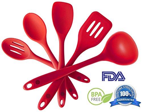 Silicone Kitchen Utensils Set (5 Piece) - Hygienic Solid Silicone Design - 100% FDA Grade & BPA Free - Premium...