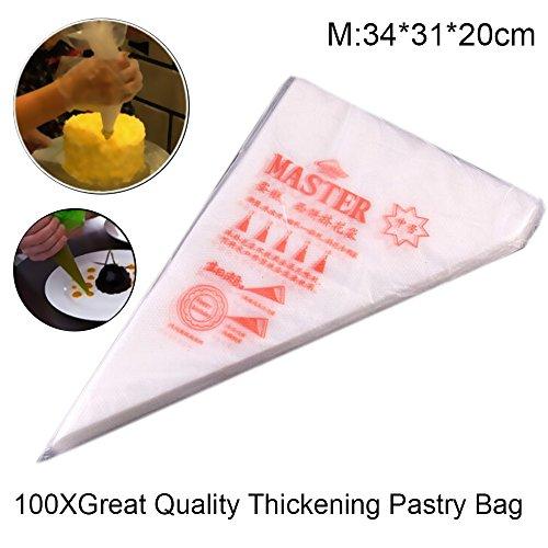 MENGCORE 100 PCS Disposable Piping Bag Icing Fondant Cake Cream Decorating Pastry Tip Tool M