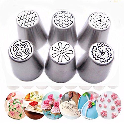 ZJKJ 6PCS Russian Piping Tips Flower Cake Icing Piping Nozzles Cake Cupcake Decorating Tips Kit Pastry DIY Baking Tools