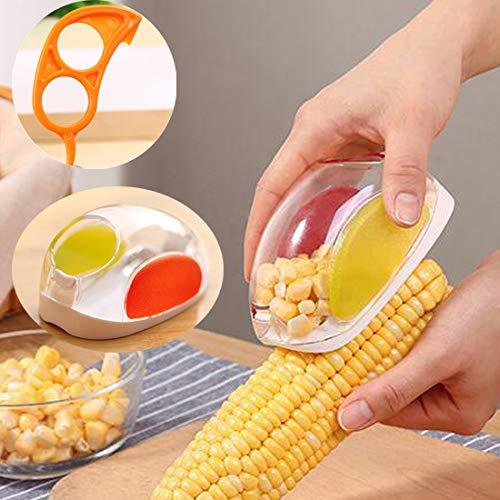 Corn Stripper Corn Peeler No Mess Corn Stripper Cutter Shaver Cob Remover Kerneler Container Corn Cutter Corn Cob Corn Shucker Remover With One Orange Opener Peeler